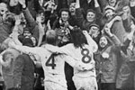 Mickey Horswill and Billy Hughes join in the fans celebrations